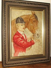 19TH Century Huntsman & Horse Needlepoint Art