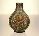 18th/Early 19th C. CHINESE CLOISONNE ENAMELED BRONZE SNUFF BOTTLE