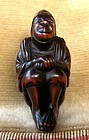 19th C. Japanese Boxwood Netsuke, Seated Cortesan