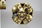 KOICHI, 19th C. Japanese Nine-Mask Group Netsuke
