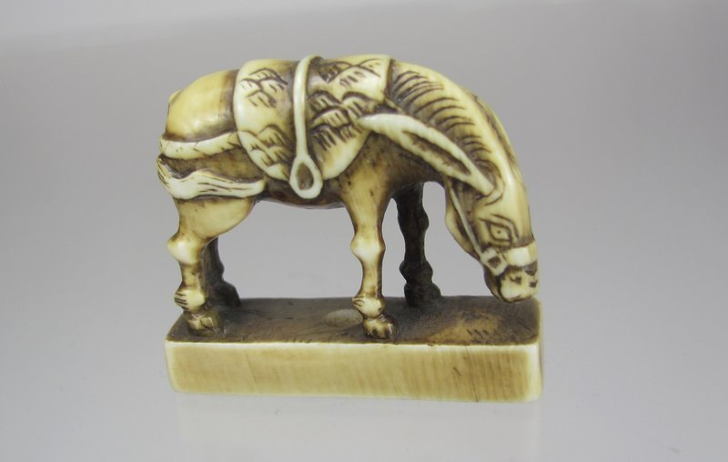 19th C. Japanese Netsuke:  Horse on Base Seal