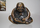 Early 19th C. Japanese Boxwood Netsuke: Seated DARUMA