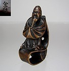 YOSAI, 19th C, Japanese Boxwood Netsuke, Scholar on Scroll