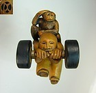 "DAVID CARLIN Contemporary Boxwood Netsuke ""Monkey on my Back"""