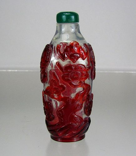 19th C Red Overlay Glass Snuff Bottle with Bats