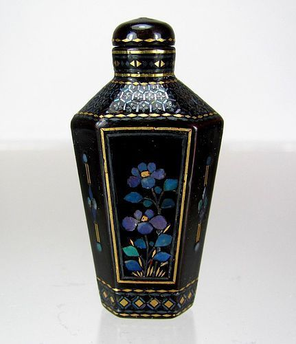 Chinese Antique Black Lacquered Burgaute Hexagonal Snuff Bottle