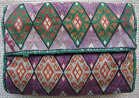 A funely embroidered Hazara purse - central Afghanistan