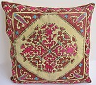 A silk-embroidered cushion cover from Hazara district