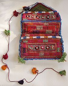 An embroidered and beaded wallet from Afghanistan