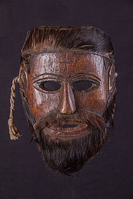 Old primitive hairy face mask, Nepal Himalaya