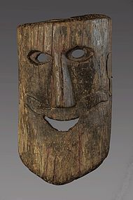 Wood with Natural patina primitive himalayan mask, Nepal, Himalaya