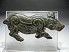 Asiatic Bronze Boar Buckle, 1000 BC.