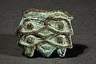 """Egyptian Faience Amulet, """"Wedjat"""" Eye, 330-63 BC."""
