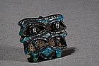 Egyptian Blue Glazed Faience Amulet, c. 1500-330 BC.