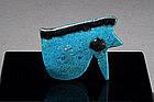 Egyptian Azure Glazed Faience Amulet, c. 1500-330 BC.