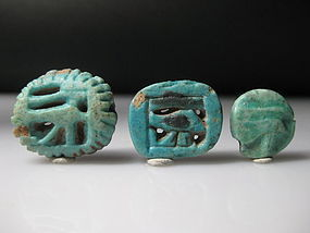 Ancient Egyptian Faience Lot of Three Wedjat Eyes