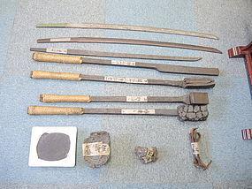 Rare Japanese Katana Sword Manufacturing Process Implements Set
