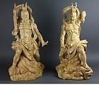 Large Temple Japanese Buddhist Nio Agyo Ungyo Protectors Deva Statue