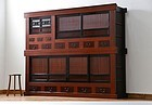 EDO Period Antique Omi Mizuya Japanese Sado Tansu Cabinet Ogi Chest