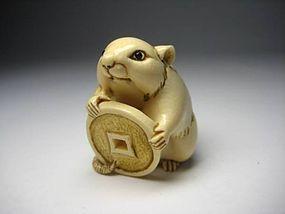 Japanese Antique Rat Mouse Zodiac Okimono Netsuke Statue Art