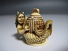 Japanese Antique NOH Dojoji Devil Evil Dragon Netsuke Okimono Art