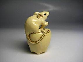 Japanese Antique Hawk Rat Zodiac Netsuke Okimono Statue Art