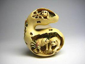 Japanese Antique Dog Gourd Zodiac Netsuke Okimono Statue Art