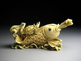 Japanese Antique Frpg Turtle Fish Koi Netsuke Okimono Statue Art