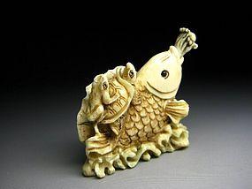 Japanese Antique Frog Turtle Koi Fish Okimono Netsuke Statue Art