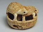 Japanese Antique Turtle Basket Netsuke Okimono Statue Art