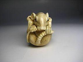 Japanese Antique Round Rat Mouse Zodiac Netsuke Okimono Statue Art