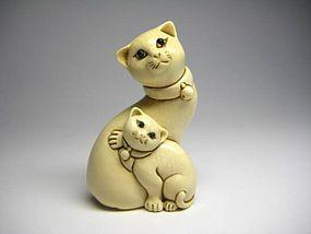 Japanese Antique Neko Cat Parent And Child Netsuke Okimono Statue Art