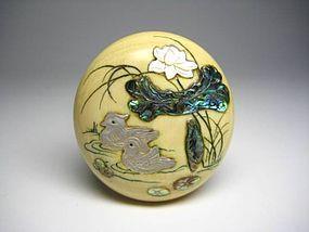 Japanese Antique Raden Coral Gourd Netsuke Okimono Statue Art