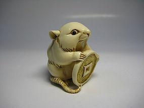 Japanese Antique Rat Zodiac Netsuke Okimono Statue Art