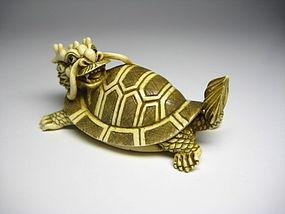 Japanese Antique Turtle Dragon Zodiac Netsuke Okimono Statue Art