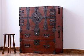 EDO Antique Japanese Sado Tansu Kannon Cabinet Ogi Chest