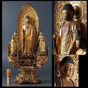 EDO Gilt Japanese Amida Nyorai Triad Raigo Glass Eye Buddha Zen Statue