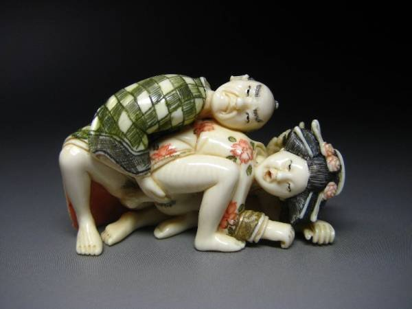 Japanese Zoge Shunga Geisha Oiran Samurai Erotic Ivory Okimono Netsuke