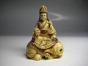 Japanese Zoge Samantabhadra Elephant Buddha Statue Okimono Netsuke