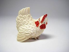 Japanese Antique Zoge Ivory Mammoth Chicken Rooster Okimono Netsuke