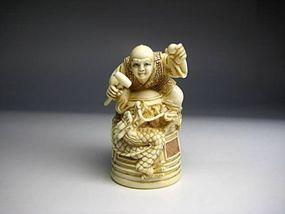Japanese Zoge Ivory Zodiac Dragon Luck Monk Bell Okimono Netsuke Art