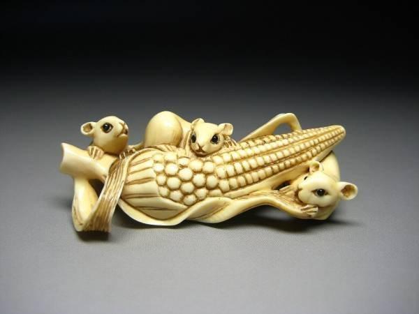Japanese Zoge Ivory Rat Mouse Nezumi Corn Mammoth Okimono Netsuke Art