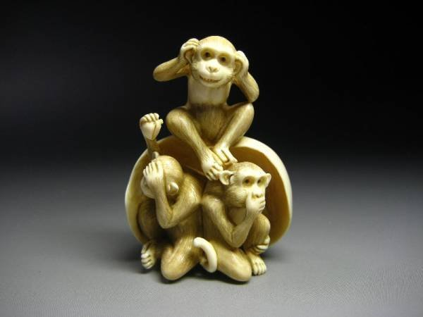 Japanese Zoge Ivory Mammoth Luck Zodiac Three Monkeys Okimono Netsuke