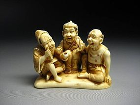 Japanese Antique Zoge Ivory Three Old Friends Figure Okimono Netsuke