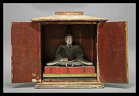 Buddhist Tenjin Wooden Polychrome Statue Zushi Shrine
