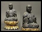 EDO Japanese Buddha Jizo Bosatsu Monk Gilt-Wood Statue
