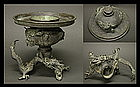 Japanese DRAGON Flower Usubata Ikebana Bronze Vase