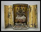Japanese Buddha Benten Gilt-Wood Zushi Shrine Statue