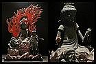 EDO 1700s Japanese Buddha Fudo Myo TRIAD Wood Statue