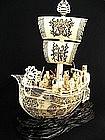 Antique Zoge Ivory Treasure Ship Okimono Statue 7 Gods